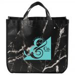 custom totes marble laminated non-woven tote