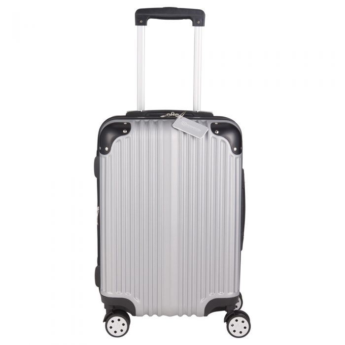 luggage metallic upright expandable luggage with tag
