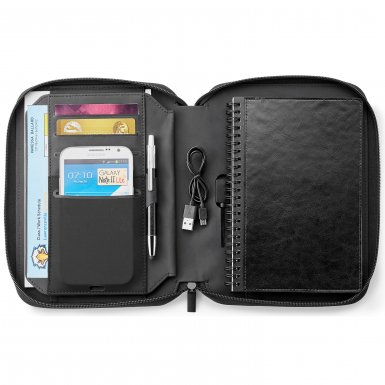 promotional products journals portfolios fabrizio a5 zip journal with 5,000 mah wireless charging power bank black1