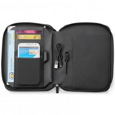 promotional products journals portfolios fabrizio a5 zip journal with 5,000 mah wireless charging power bank black2