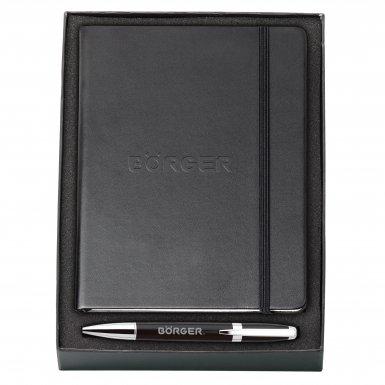 promotional products journals portfolios melody 2-tone & neoskin® pen & journal gift set black