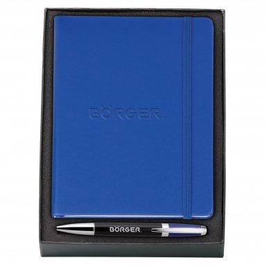 promotional products journals portfolios melody 2-tone & neoskin® pen & journal gift set dark blue