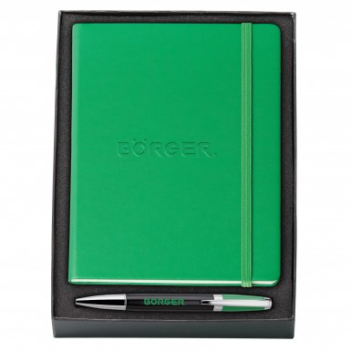 promotional products journals portfolios melody 2-tone & neoskin® pen & journal gift set green1