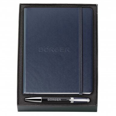 promotional products journals portfolios melody 2-tone & neoskin® pen & journal gift set navy blue