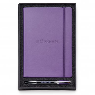 promotional products journals portfolios melody 2-tone & neoskin® pen & journal gift set purple