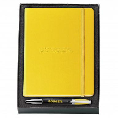 promotional products journals portfolios melody 2-tone & neoskin® pen & journal gift set yellow
