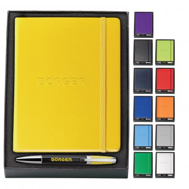 promotional products journals portfolios melody 2-tone & neoskin® pen & journal gift set